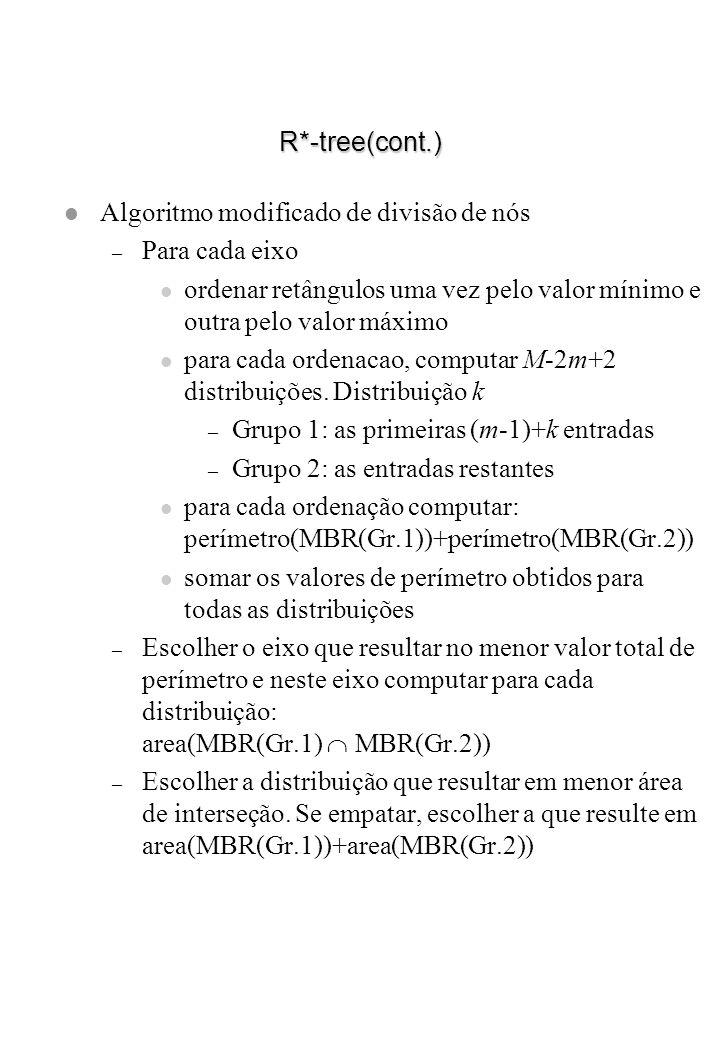 R*-tree(cont.) l Algoritmo modificado de divisão de nós – Para cada eixo l ordenar retângulos uma vez pelo valor mínimo e outra pelo valor máximo l pa