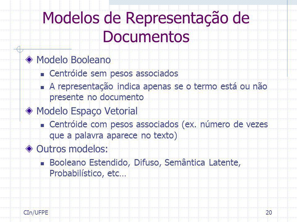 CIn/UFPE20 Modelos de Representação de Documentos Modelo Booleano Centróide sem pesos associados A representação indica apenas se o termo está ou não