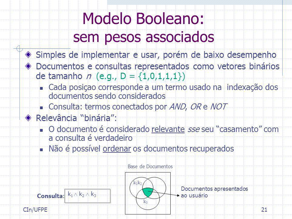 CIn/UFPE21 Modelo Booleano: sem pesos associados Simples de implementar e usar, porém de baixo desempenho Documentos e consultas representados como ve