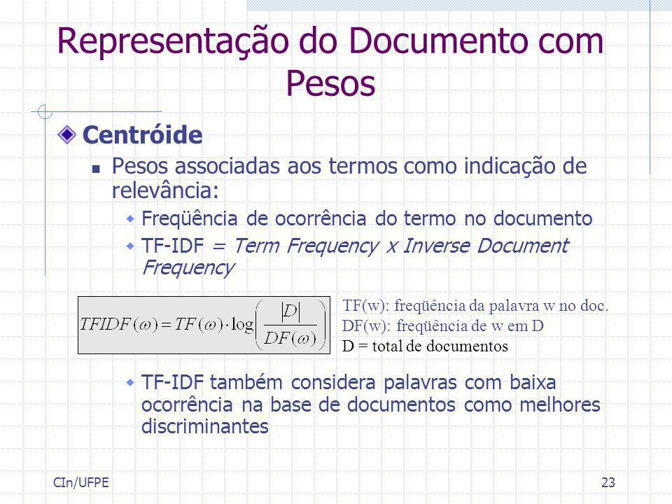 CIn/UFPE23 Representação do Documento com Pesos Centróide Pesos associadas aos termos como indicação de relevância: Freqüência de ocorrência do termo