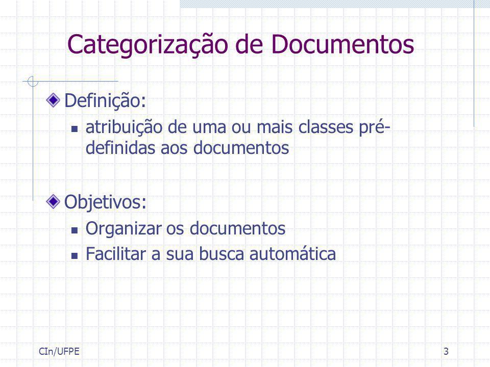 CIn/UFPE3 Categorização de Documentos Definição: atribuição de uma ou mais classes pré- definidas aos documentos Objetivos: Organizar os documentos Fa