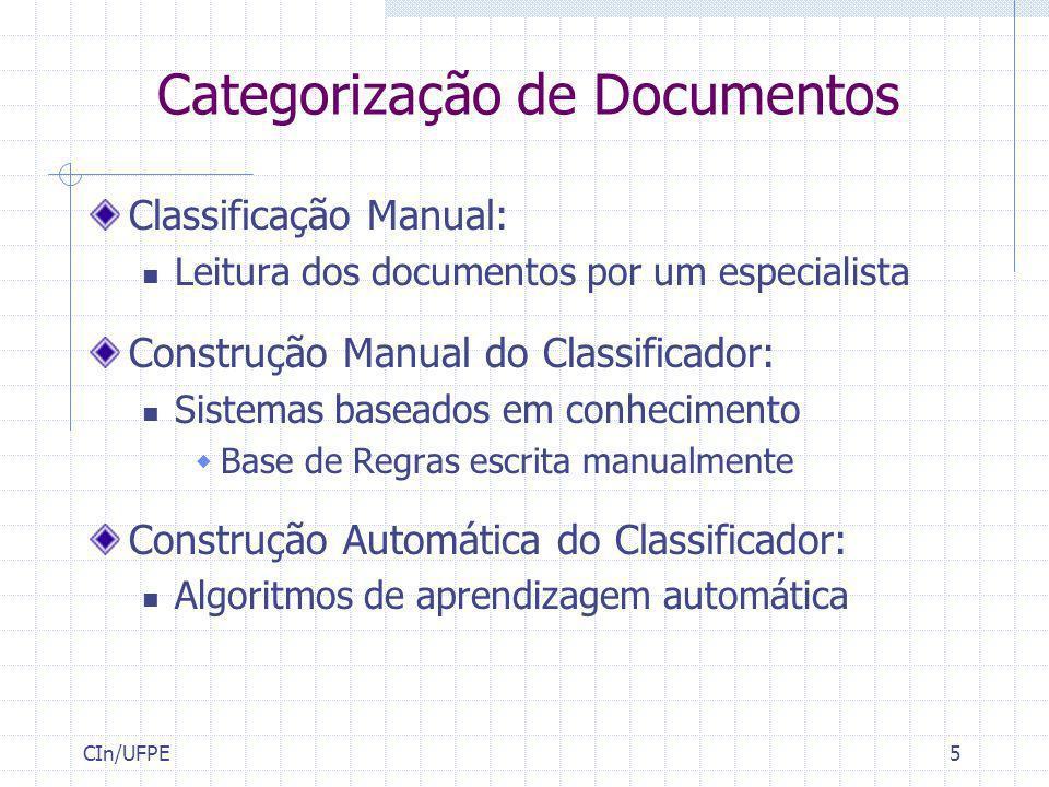 CIn/UFPE5 Categorização de Documentos Classificação Manual: Leitura dos documentos por um especialista Construção Manual do Classificador: Sistemas ba
