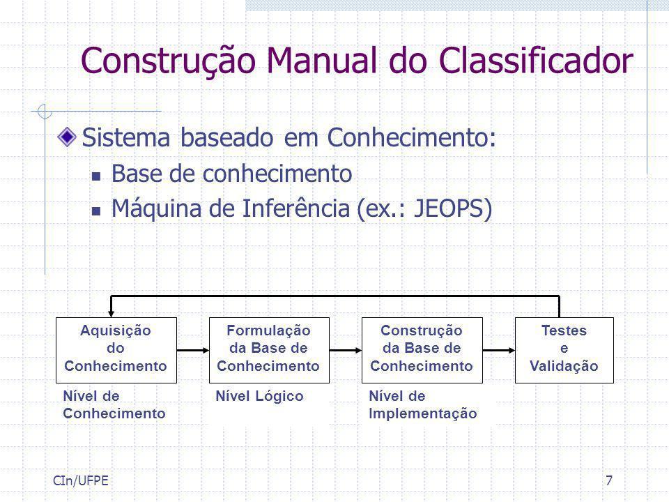 CIn/UFPE7 Construção Manual do Classificador Sistema baseado em Conhecimento: Base de conhecimento Máquina de Inferência (ex.: JEOPS) Testes e Validaç