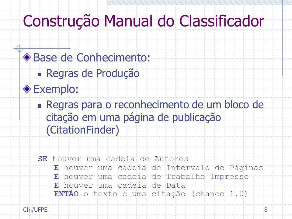 CIn/UFPE8 Base de Conhecimento: Regras de Produção Exemplo: Regras para o reconhecimento de um bloco de citação em uma página de publicação (CitationF