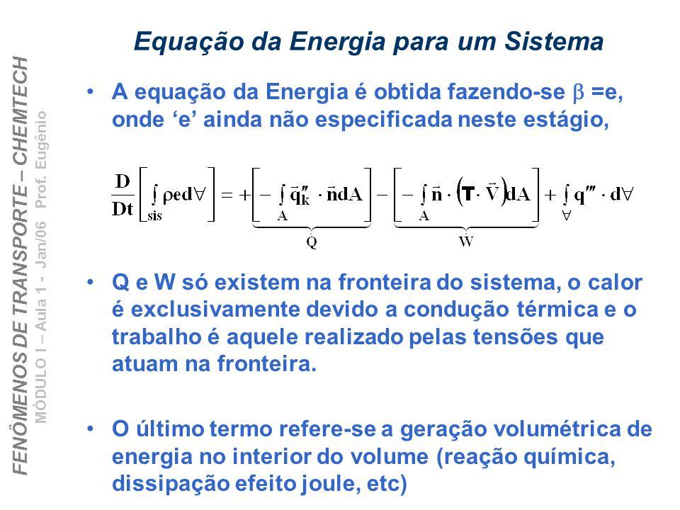 FENÔMENOS DE TRANSPORTE – CHEMTECH MÓDULO I – Aula 1 - Jan/06 Prof. Eugênio Equação da Energia para um Sistema A equação da Energia é obtida fazendo-s