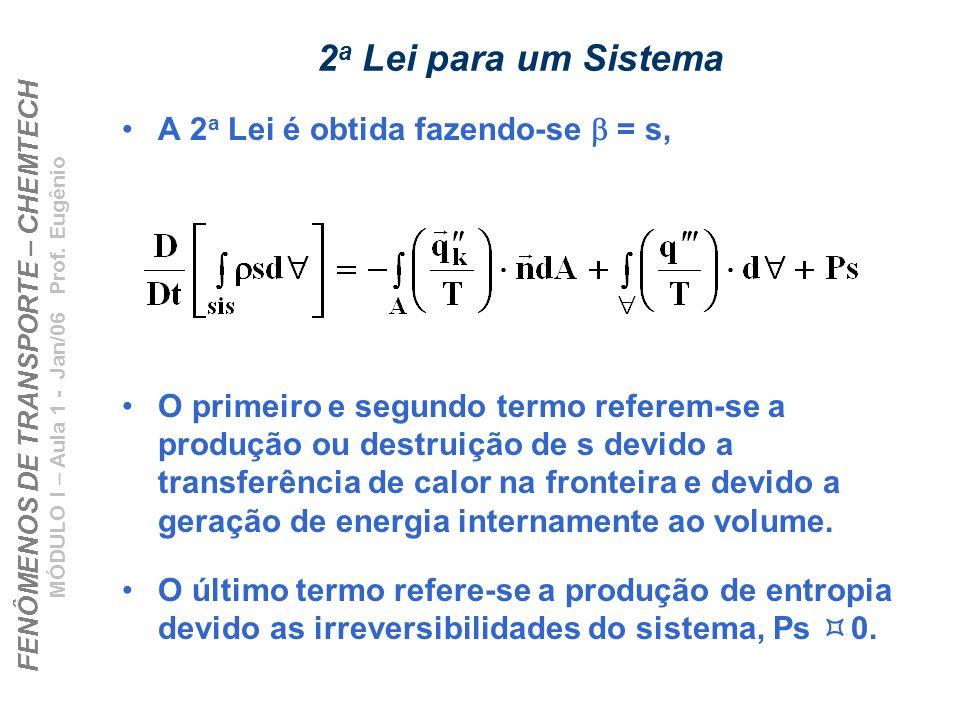 FENÔMENOS DE TRANSPORTE – CHEMTECH MÓDULO I – Aula 1 - Jan/06 Prof. Eugênio 2 a Lei para um Sistema A 2 a Lei é obtida fazendo-se = s, O primeiro e se
