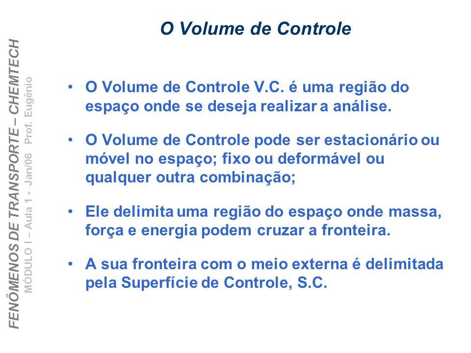 FENÔMENOS DE TRANSPORTE – CHEMTECH MÓDULO I – Aula 1 - Jan/06 Prof. Eugênio O Volume de Controle O Volume de Controle V.C. é uma região do espaço onde