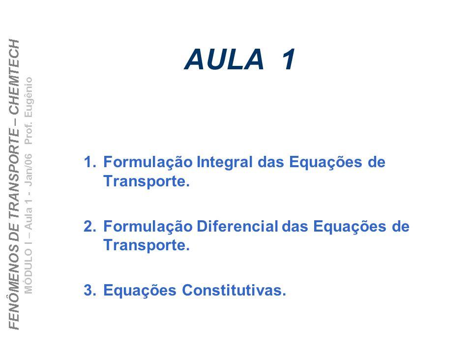 FENÔMENOS DE TRANSPORTE – CHEMTECH MÓDULO I – Aula 1 - Jan/06 Prof. Eugênio AULA 1 1.Formulação Integral das Equações de Transporte. 2.Formulação Dife