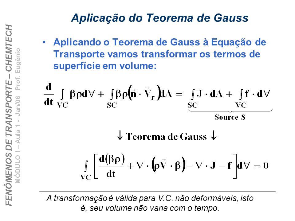 FENÔMENOS DE TRANSPORTE – CHEMTECH MÓDULO I – Aula 1 - Jan/06 Prof. Eugênio Aplicação do Teorema de Gauss Aplicando o Teorema de Gauss à Equação de Tr