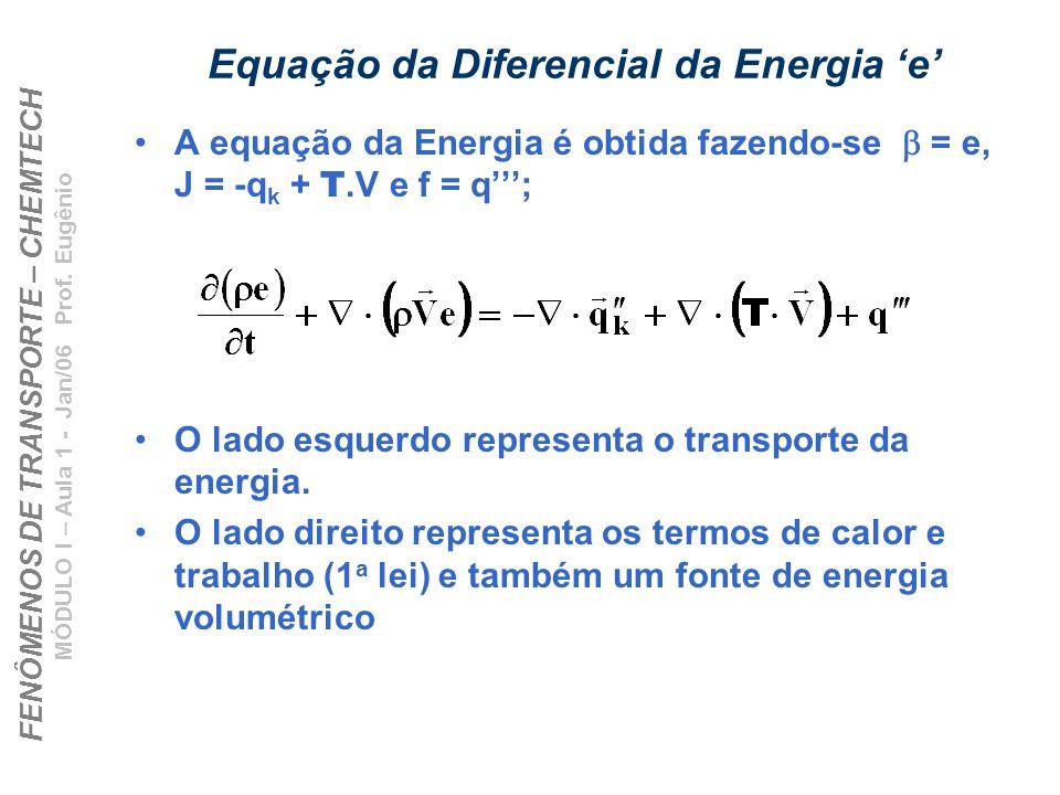 FENÔMENOS DE TRANSPORTE – CHEMTECH MÓDULO I – Aula 1 - Jan/06 Prof. Eugênio Equação da Diferencial da Energia e A equação da Energia é obtida fazendo-