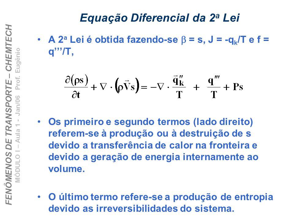FENÔMENOS DE TRANSPORTE – CHEMTECH MÓDULO I – Aula 1 - Jan/06 Prof. Eugênio Equação Diferencial da 2 a Lei A 2 a Lei é obtida fazendo-se = s, J = -q k
