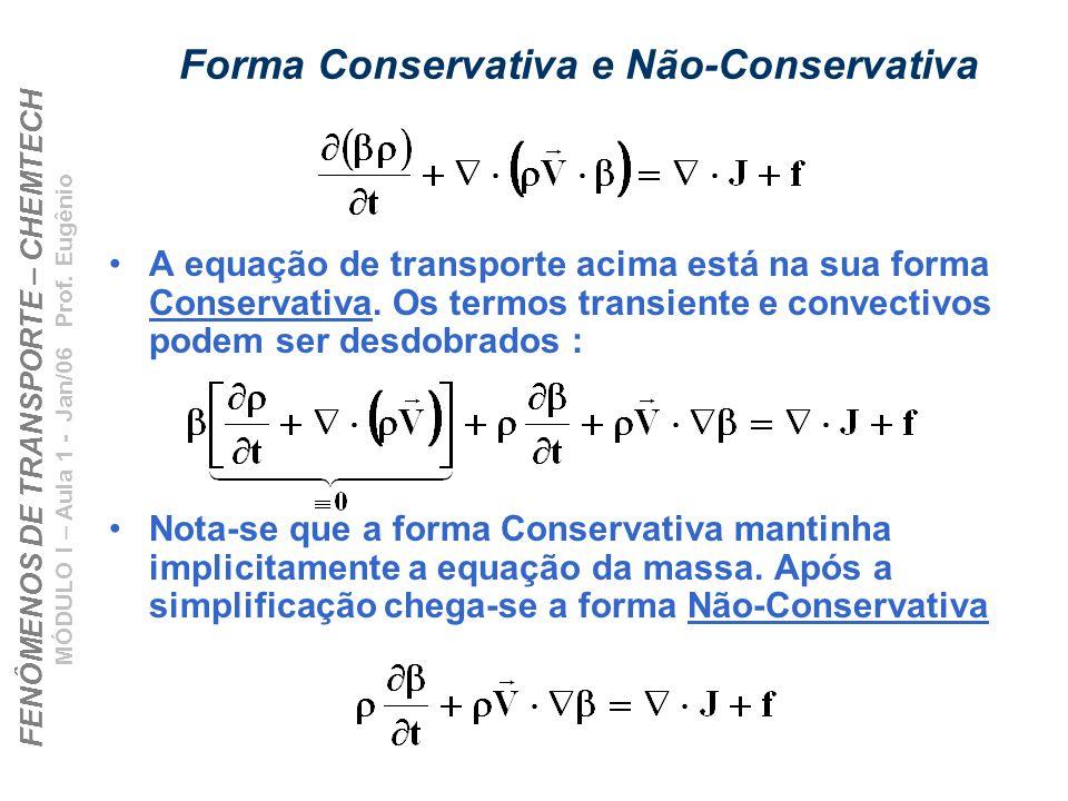 FENÔMENOS DE TRANSPORTE – CHEMTECH MÓDULO I – Aula 1 - Jan/06 Prof. Eugênio Forma Conservativa e Não-Conservativa A equação de transporte acima está n