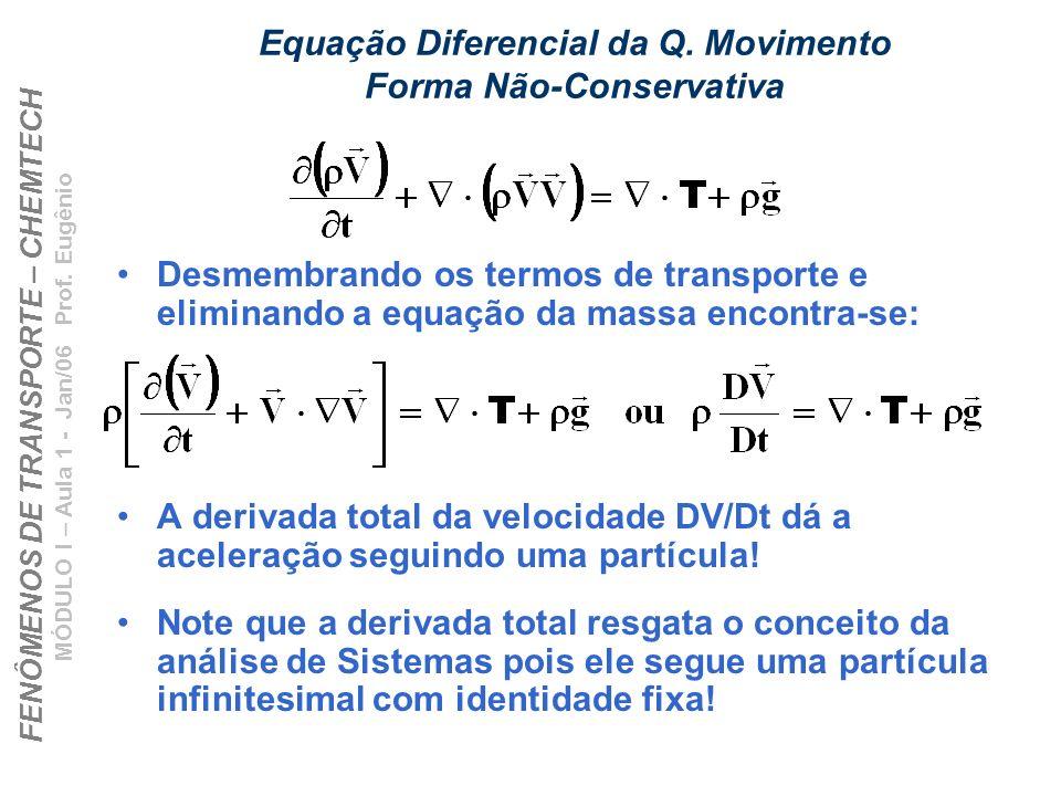 FENÔMENOS DE TRANSPORTE – CHEMTECH MÓDULO I – Aula 1 - Jan/06 Prof. Eugênio Equação Diferencial da Q. Movimento Forma Não-Conservativa Desmembrando os