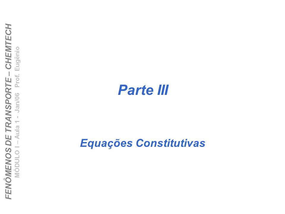 FENÔMENOS DE TRANSPORTE – CHEMTECH MÓDULO I – Aula 1 - Jan/06 Prof. Eugênio Parte III Equações Constitutivas