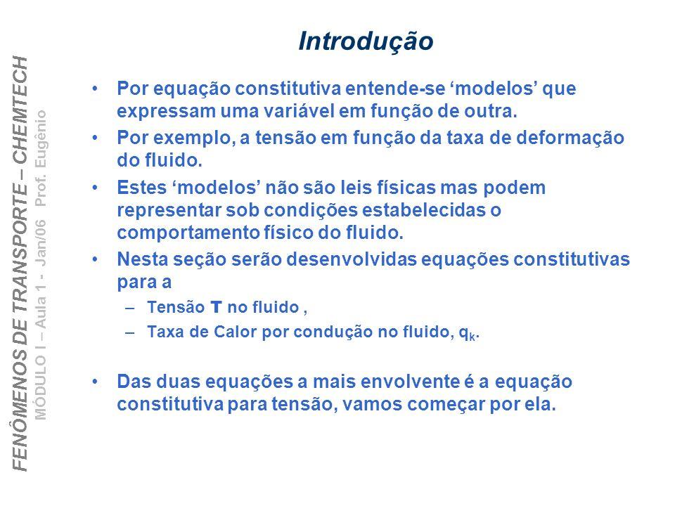 FENÔMENOS DE TRANSPORTE – CHEMTECH MÓDULO I – Aula 1 - Jan/06 Prof. Eugênio Introdução Por equação constitutiva entende-se modelos que expressam uma v