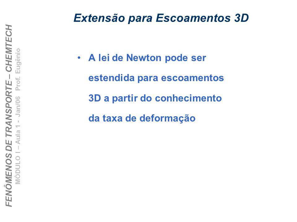 FENÔMENOS DE TRANSPORTE – CHEMTECH MÓDULO I – Aula 1 - Jan/06 Prof. Eugênio Extensão para Escoamentos 3D A lei de Newton pode ser estendida para escoa