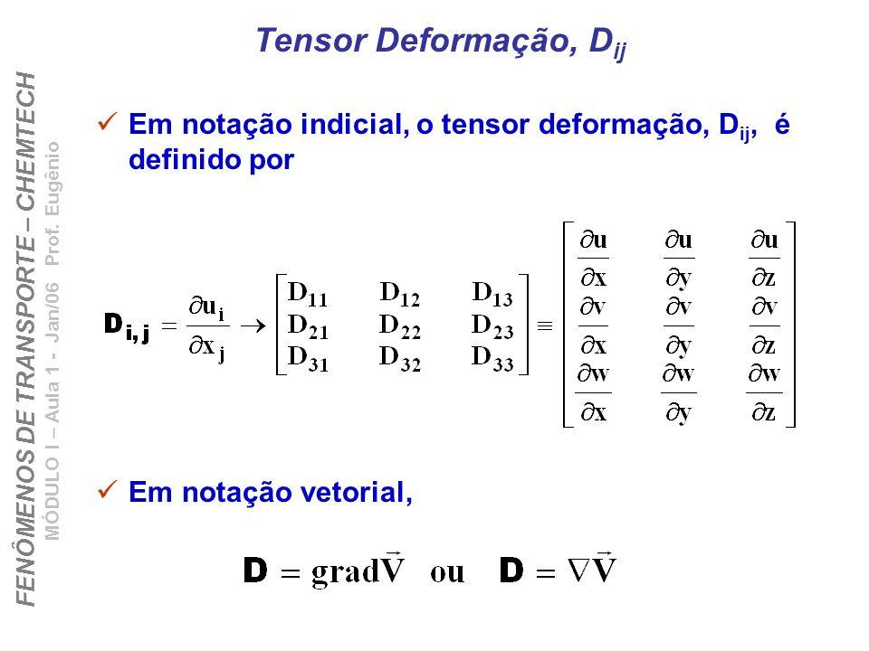 FENÔMENOS DE TRANSPORTE – CHEMTECH MÓDULO I – Aula 1 - Jan/06 Prof. Eugênio Tensor Deformação, D ij Em notação indicial, o tensor deformação, D ij, é