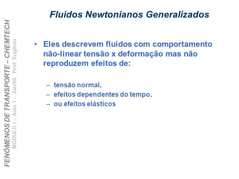 FENÔMENOS DE TRANSPORTE – CHEMTECH MÓDULO I – Aula 1 - Jan/06 Prof. Eugênio Fluidos Newtonianos Generalizados Eles descrevem fluidos com comportamento
