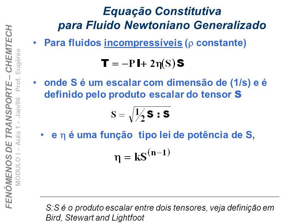 FENÔMENOS DE TRANSPORTE – CHEMTECH MÓDULO I – Aula 1 - Jan/06 Prof. Eugênio Equação Constitutiva para Fluido Newtoniano Generalizado Para fluidos inco