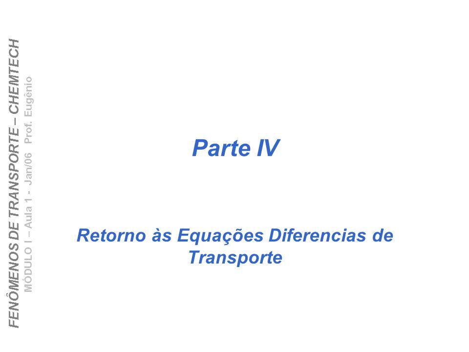 FENÔMENOS DE TRANSPORTE – CHEMTECH MÓDULO I – Aula 1 - Jan/06 Prof. Eugênio Parte IV Retorno às Equações Diferencias de Transporte