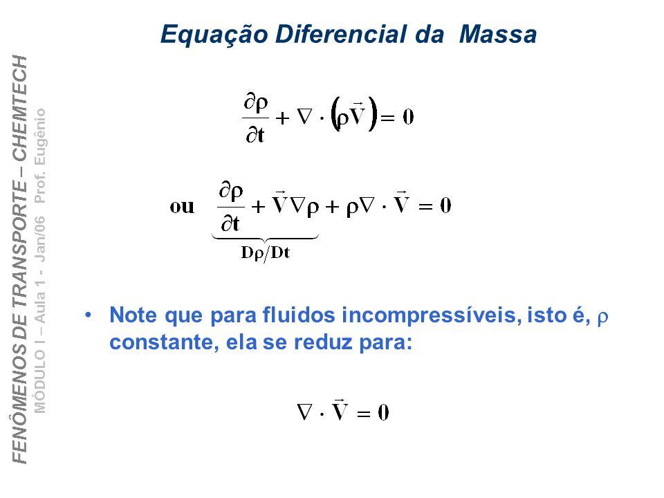 FENÔMENOS DE TRANSPORTE – CHEMTECH MÓDULO I – Aula 1 - Jan/06 Prof. Eugênio Equação Diferencial da Massa Note que para fluidos incompressíveis, isto é