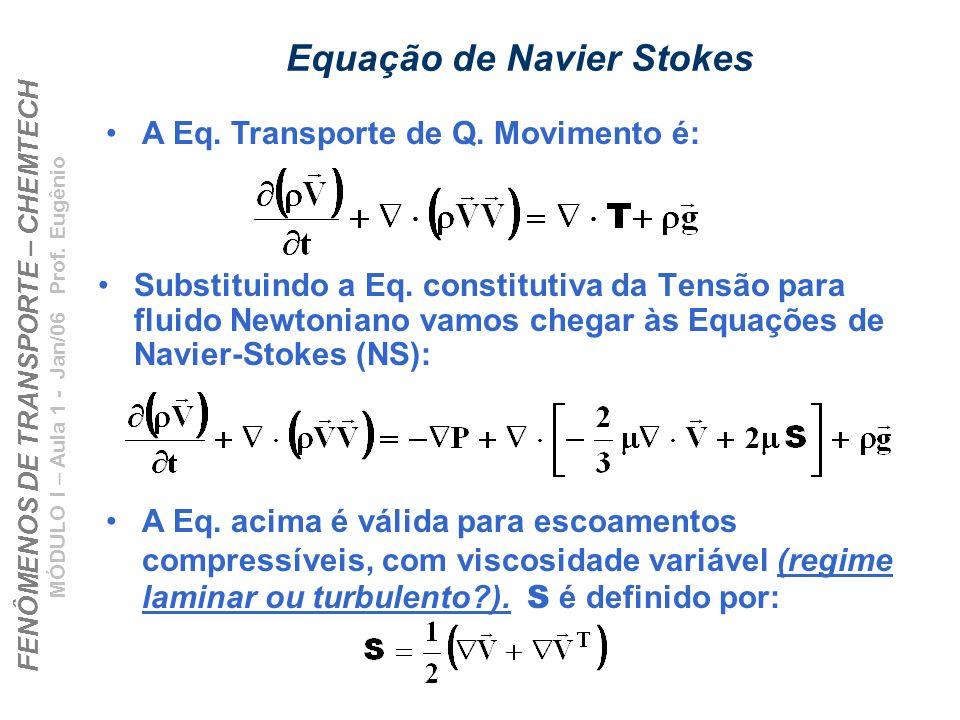 FENÔMENOS DE TRANSPORTE – CHEMTECH MÓDULO I – Aula 1 - Jan/06 Prof. Eugênio Equação de Navier Stokes Substituindo a Eq. constitutiva da Tensão para fl