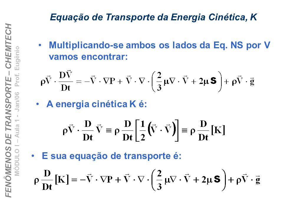FENÔMENOS DE TRANSPORTE – CHEMTECH MÓDULO I – Aula 1 - Jan/06 Prof. Eugênio Equação de Transporte da Energia Cinética, K Multiplicando-se ambos os lad