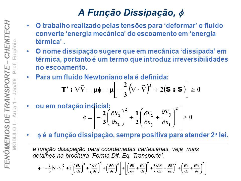 FENÔMENOS DE TRANSPORTE – CHEMTECH MÓDULO I – Aula 1 - Jan/06 Prof. Eugênio A Função Dissipação, O trabalho realizado pelas tensões para deformar o fl