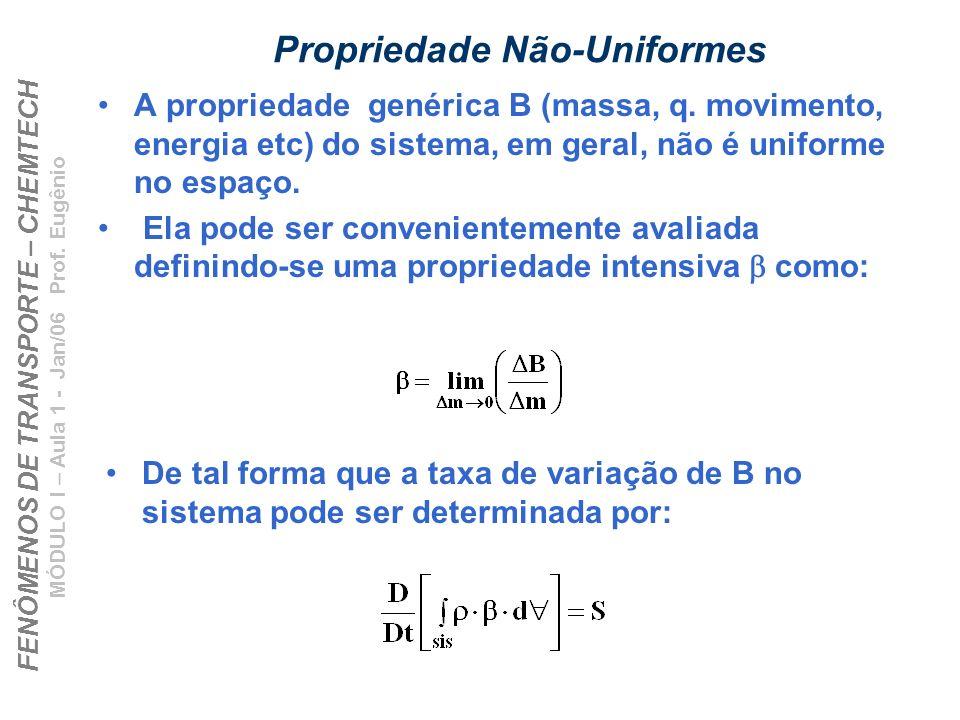FENÔMENOS DE TRANSPORTE – CHEMTECH MÓDULO I – Aula 1 - Jan/06 Prof. Eugênio Propriedade Não-Uniformes A propriedade genérica B (massa, q. movimento, e