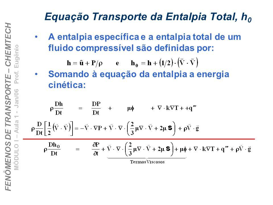 FENÔMENOS DE TRANSPORTE – CHEMTECH MÓDULO I – Aula 1 - Jan/06 Prof. Eugênio Equação Transporte da Entalpia Total, h 0 A entalpia específica e a entalp