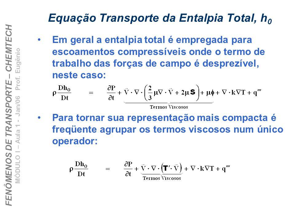 FENÔMENOS DE TRANSPORTE – CHEMTECH MÓDULO I – Aula 1 - Jan/06 Prof. Eugênio Equação Transporte da Entalpia Total, h 0 Em geral a entalpia total é empr