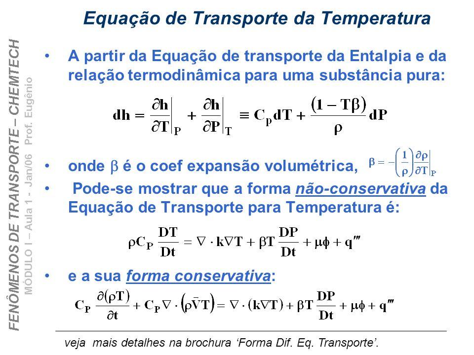 FENÔMENOS DE TRANSPORTE – CHEMTECH MÓDULO I – Aula 1 - Jan/06 Prof. Eugênio Equação de Transporte da Temperatura A partir da Equação de transporte da