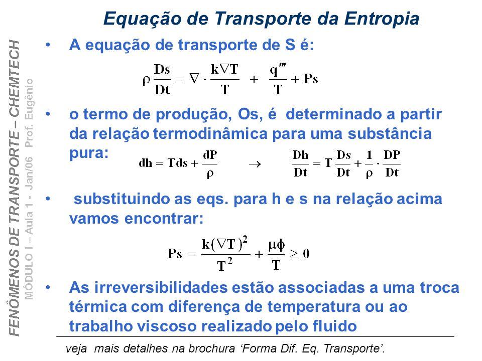 FENÔMENOS DE TRANSPORTE – CHEMTECH MÓDULO I – Aula 1 - Jan/06 Prof. Eugênio Equação de Transporte da Entropia A equação de transporte de S é: o termo
