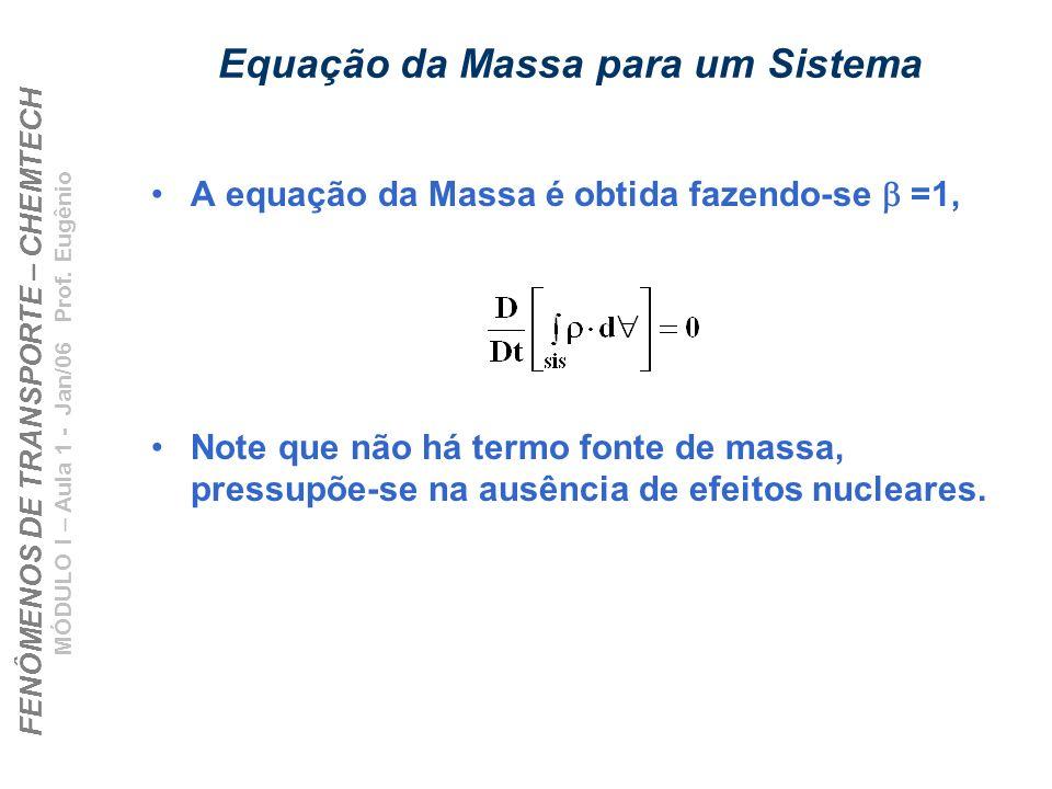 FENÔMENOS DE TRANSPORTE – CHEMTECH MÓDULO I – Aula 1 - Jan/06 Prof. Eugênio Equação da Massa para um Sistema A equação da Massa é obtida fazendo-se =1