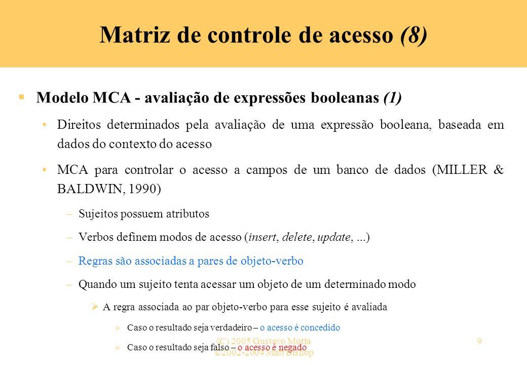 ©2002-2004 Matt Bishop (C) 2005 Gustavo Motta20 Transições do estado de proteção (9) Comandos condicionais (1) –A execução de comandos primitivos pode requerer a satisfação de certas condições –Exemplo (1): um processo p só pode dar o direito do processo q ler um arquivo f se p for o proprietário de f command concede-direito-leitura-1(p, f, q) if own in a[p, f] then enter r into a[q, f] end monocondicionais –Comando com uma condição são chamados de monocondicionais Matriz de controle de acesso (19)