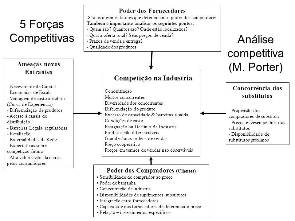 Análise competitiva (M. Porter) Competição na Industria Concentração Muitos concorrentes Diversidade dos concorrentes Diferenciação do produto Excesso