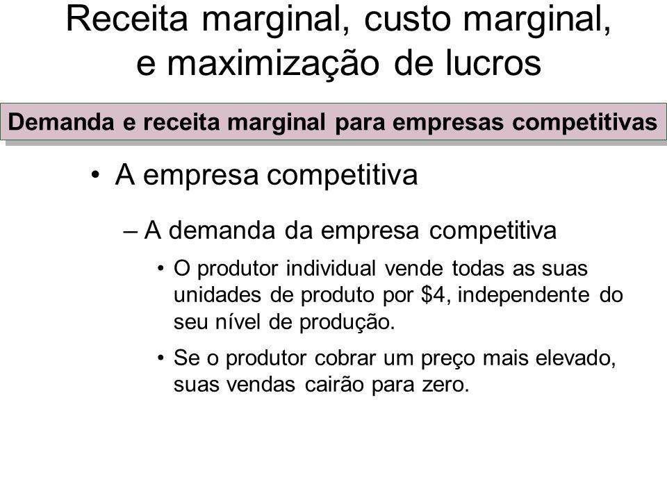 A empresa competitiva –A demanda da empresa competitiva Se o produtor cobrar um preço mais baixo, ele não conseguirá aumentar suas vendas P = D = RMg = RMe Receita marginal, custo marginal, e maximização de lucros Demanda e receita marginal para empresas competitivas