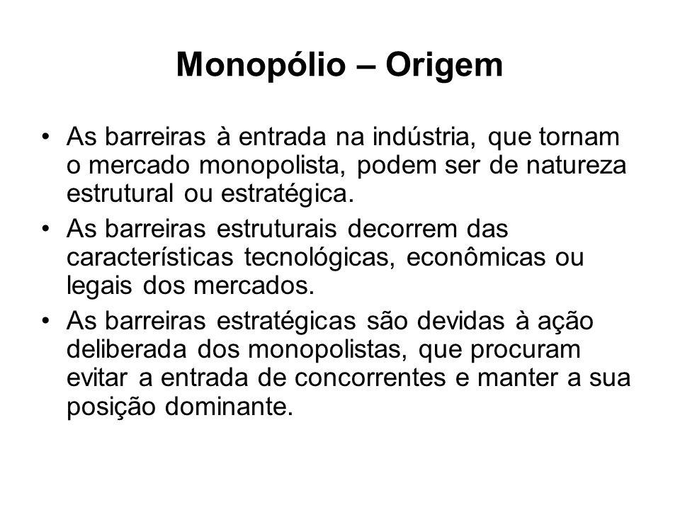Monopólio – Exemplos de barreiras estruturais 1.Economias de escala (monopólios naturais); 2.