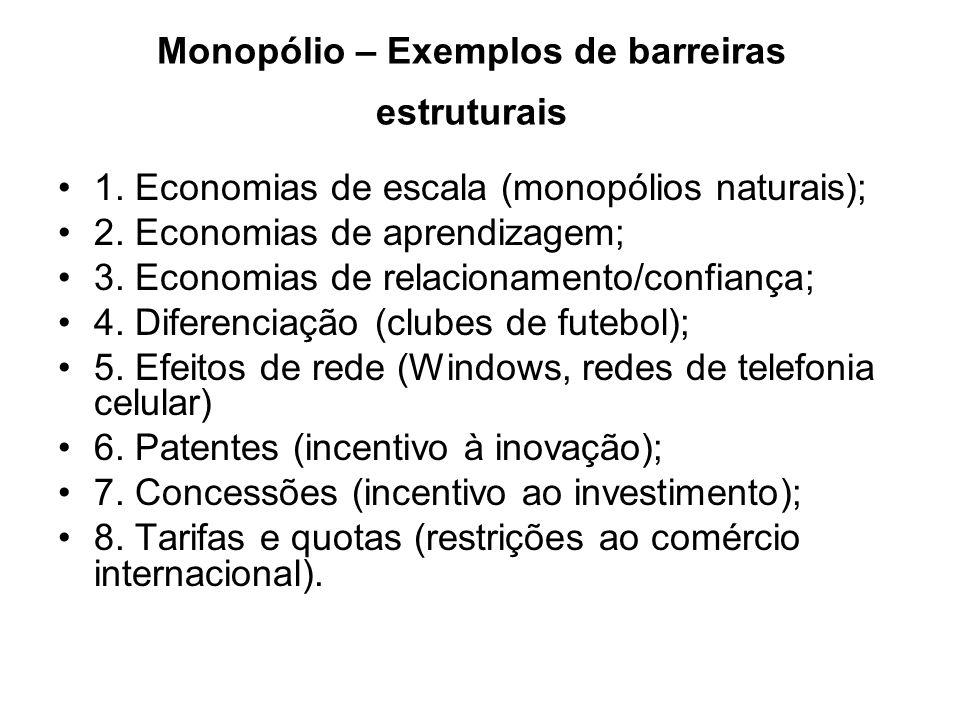 Monopólio – Exemplos de barreiras estratégicas 1.