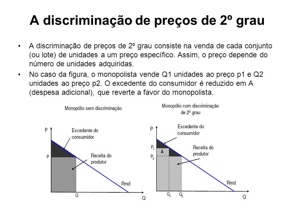 A discriminação de preços de 3º grau A discriminação de preços de 3º grau consiste em cobrar preços diferentes a grupos diferentes de consumidores.