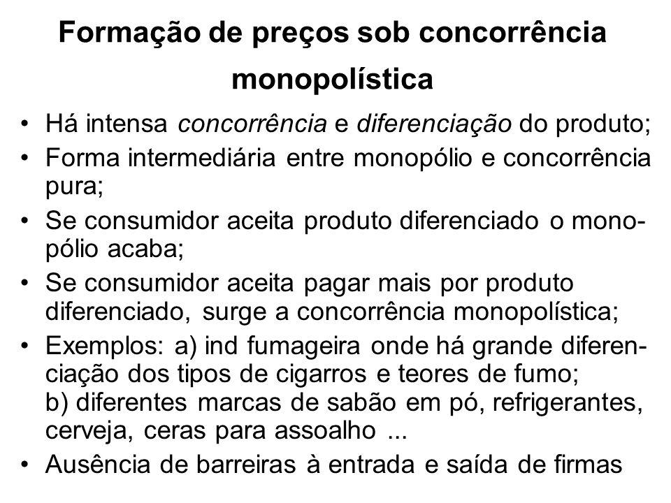 Formação de preços sob concorrência monopolística A única diferença entre concorrência monopolística e concorrência perfeita é a diferenciação no produto; A maior diferença entre a concorrência monopolística e o monopólio é facilidade de entrada e saída de empresas no mercado Como o nome sugere, a concorrência monopolística tem características tanto da concorrência perfeita como do monopólio O poder de mercado de uma firma num mercado de concorrência monopolística é muito pequeno Cada firma é sensível ao preço médio do mercado mas não presta atenção a qualquer dos competidores individualmente.