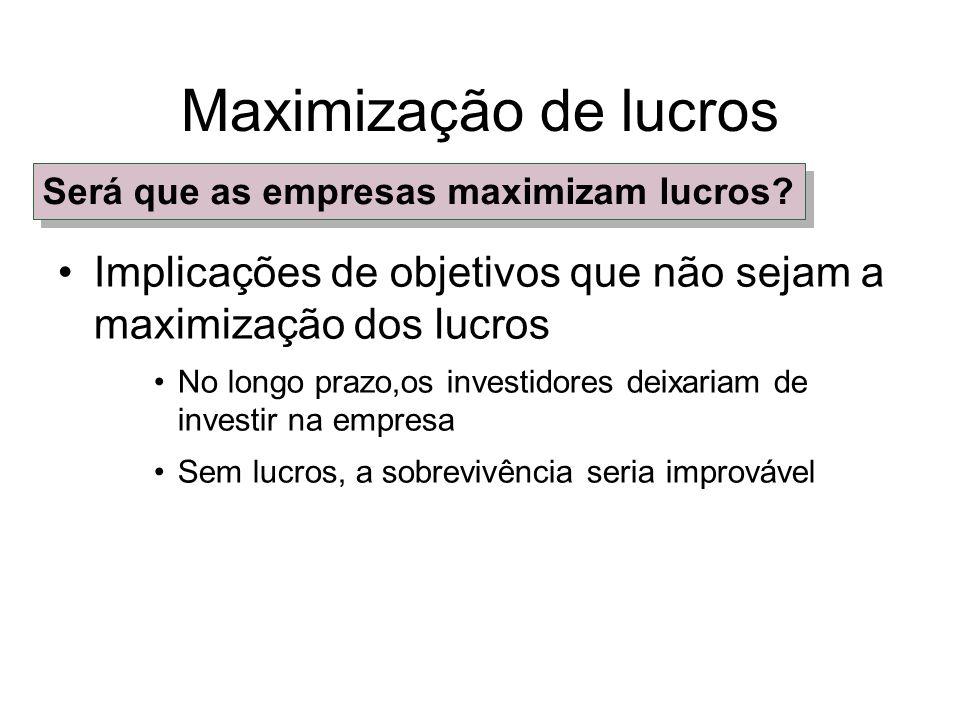 Maximização de lucros A hipótese de maximização de lucros no longo prazo é válida e não exclui a possibilidade de comportamento altruísta.