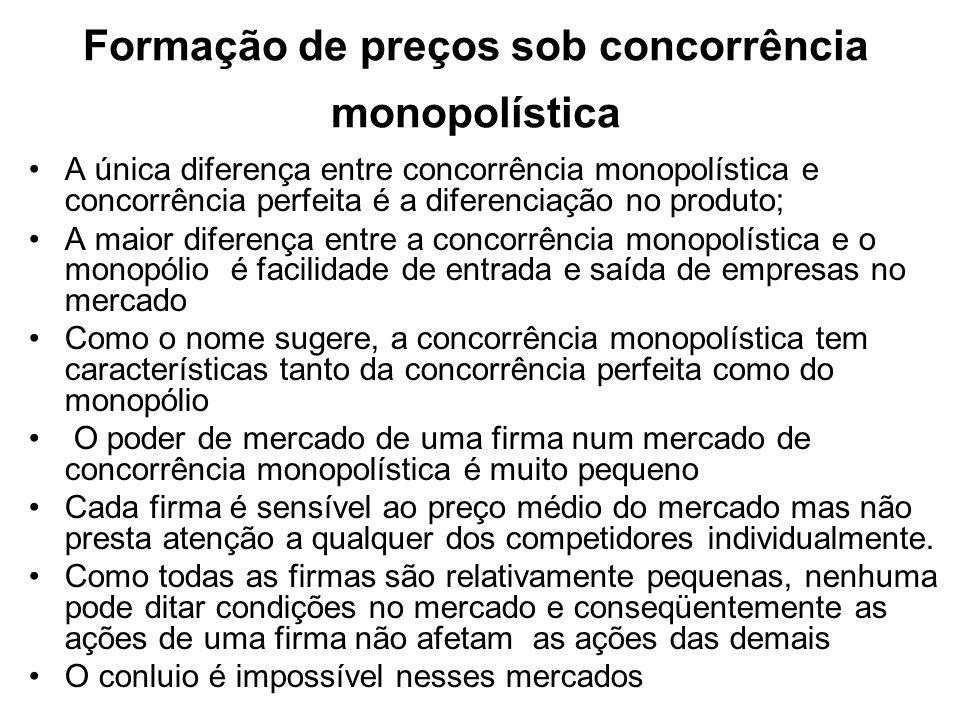 Formação de preços sob concorrência monopolística Qualidade : design, confiabilidade, serviços ao consumidor, facilidade de aquisição.