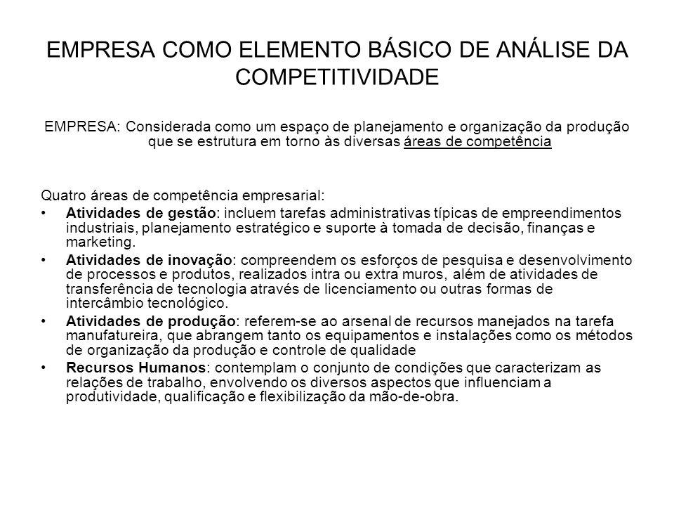 EMPRESA COMO ELEMENTO BÁSICO DE ANÁLISE DA COMPETITIVIDADE EMPRESA: Considerada como um espaço de planejamento e organização da produção que se estrut