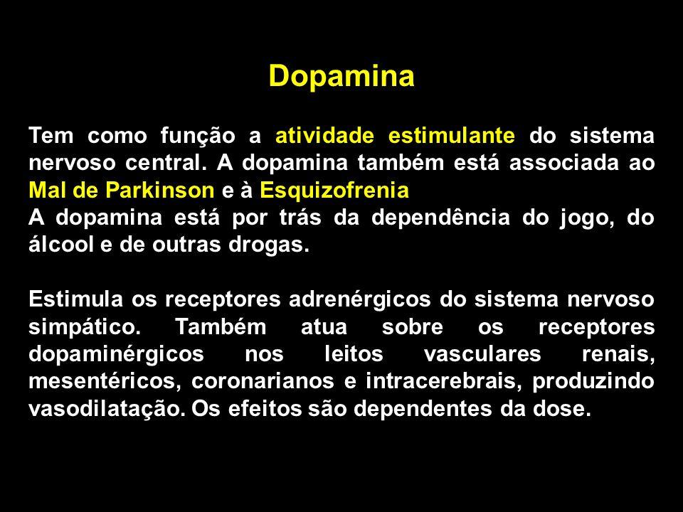 Dopamina Tem como função a atividade estimulante do sistema nervoso central. A dopamina também está associada ao Mal de Parkinson e à Esquizofrenia A