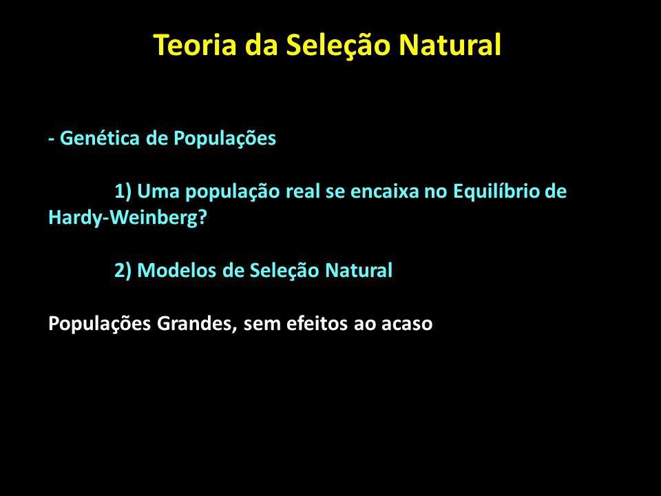 Teoria da Seleção Natural - Genética de Populações 1) Uma população real se encaixa no Equilíbrio de Hardy-Weinberg? 2) Modelos de Seleção Natural Pop
