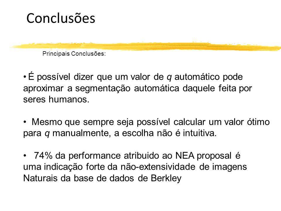 Conclusões Principais Conclusões: É possível dizer que um valor de q automático pode aproximar a segmentação automática daquele feita por seres humano