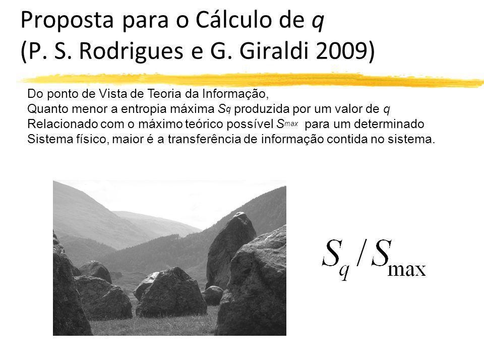 Proposta para o Cálculo de q (P. S. Rodrigues e G. Giraldi 2009) Do ponto de Vista de Teoria da Informação, Quanto menor a entropia máxima S q produzi