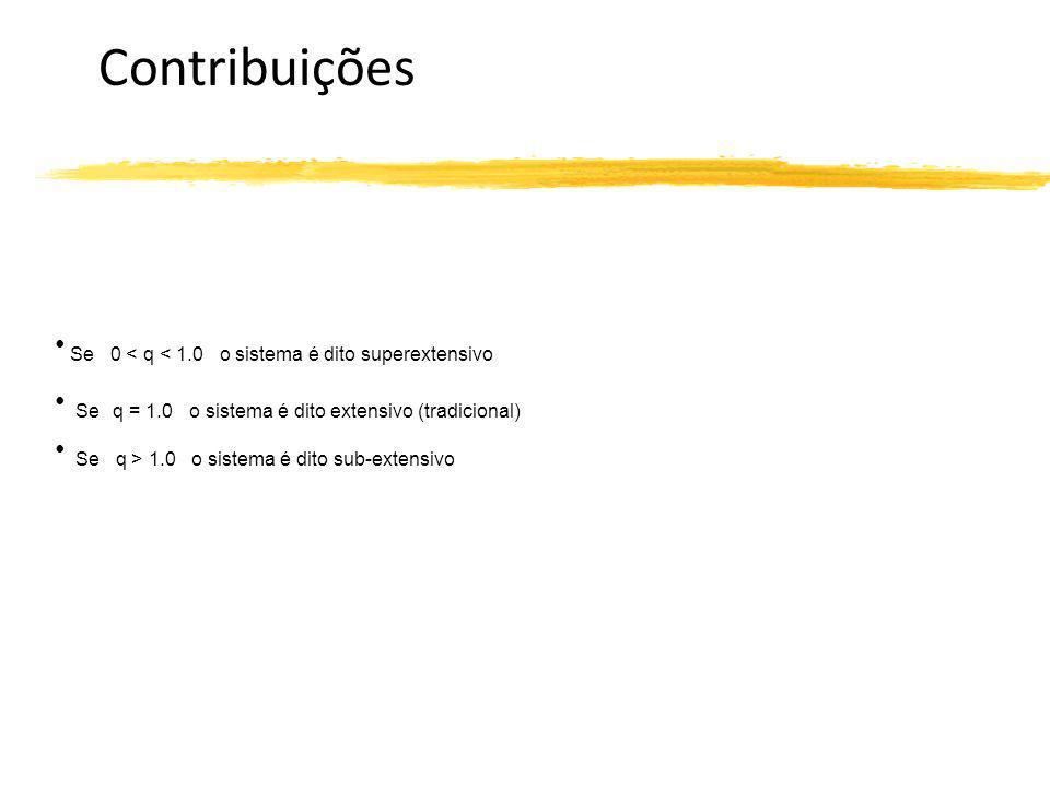 Contribuições Se 0 < q < 1.0 o sistema é dito superextensivo Se q = 1.0 o sistema é dito extensivo (tradicional) Se q > 1.0 o sistema é dito sub-exten