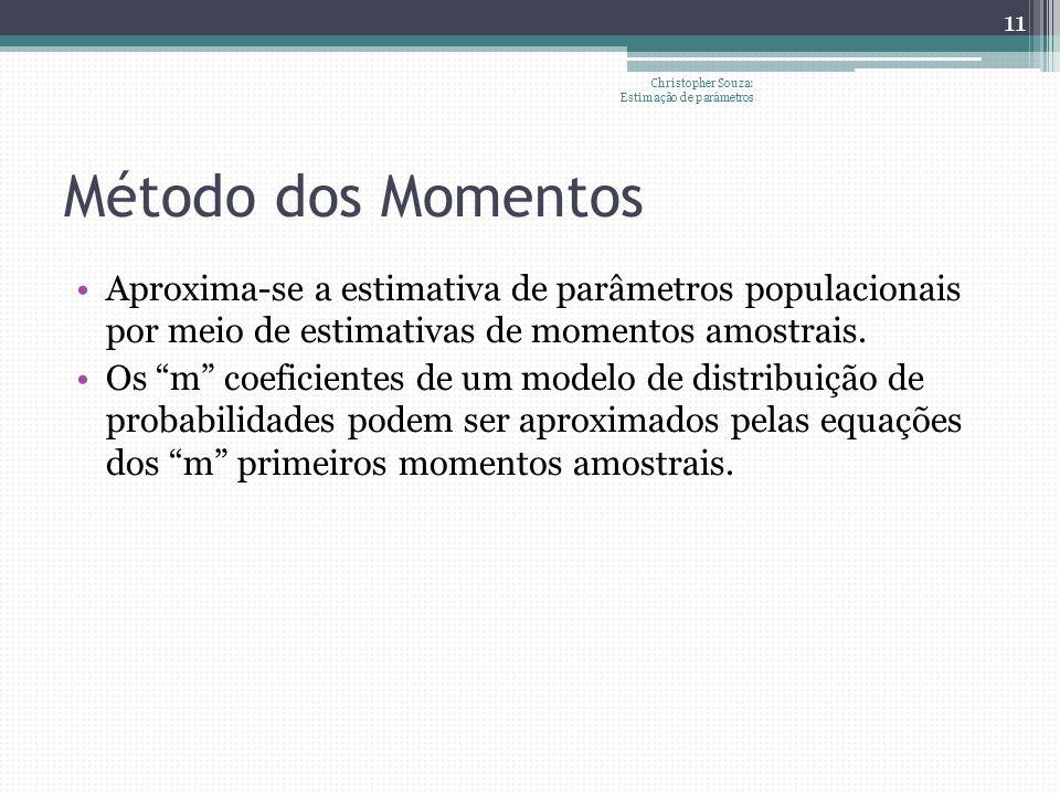 Método dos Momentos Aproxima-se a estimativa de parâmetros populacionais por meio de estimativas de momentos amostrais.